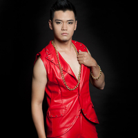 Punk Style Fashion Men S Red Slim Rivet Leather Vest Costume Nightclub Male Singer Dj Stage
