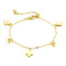 New Lucky Clover Rose Gold Plated Anklets Adjustable Length For Women Fashion Jewelry Hot Sale