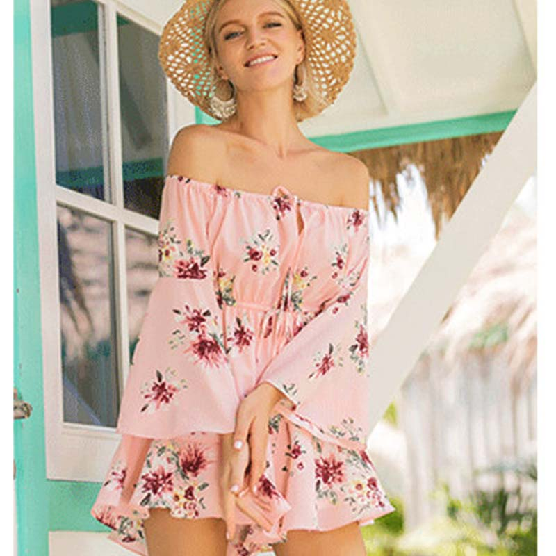 Summer collection New Bohemian Word Bandwidth Bandwidth Casual Jumpsuit Holiday Wind Printed Rompers