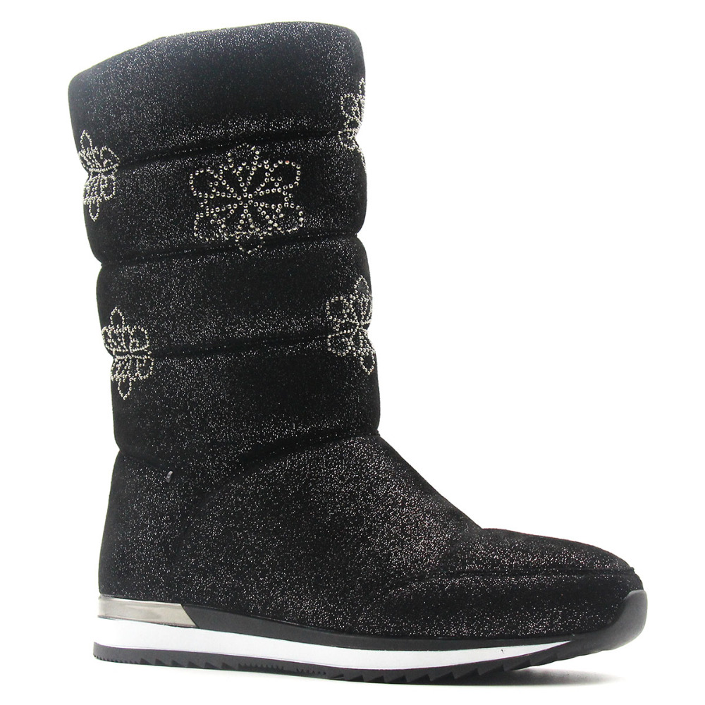 Mid Calf Snow Boots Women Black Fur Snowflake Bling Plush Winter Low Heel Warm Platform Shoes Bow Brand Rhinestone Boot Zipper double buckle cross straps mid calf boots