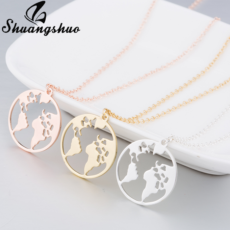 Shuangshuo Vintage Origami World Map Necklace Women Geometric Necklace Round Necklace Circle Necklaces & Pendants Choker Jewelry 5