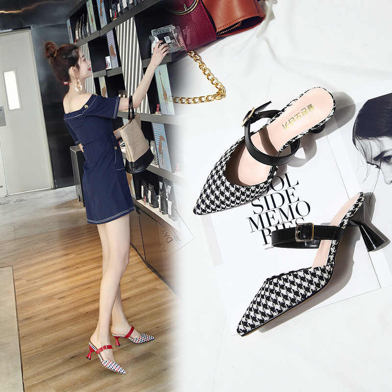 Lzzf 2018 Frühling Büro Schuhe Frauen High Heels Pumpe 7 CM Slip auf Schwarz Rot Sandalen Alias Schuhe Frau Komfortable Damen Tenis