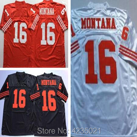 Mens Retro #16 Joe Montana Stitched Name&Number Throwback Football Jersey Size M-XXXL ...