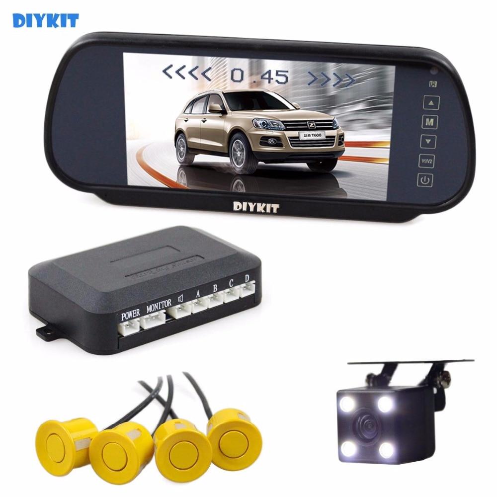 DIYKIT Video Parking Radar 4 Sensors + 7 inch Build-in LCD Display Mirror Car Monitor + Night Vision HD Rear View Car Camera koorinwoo car parking sensors 6 alarm