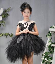 الأميرة الفتيات فستان بنات فستان حفلة أسود أبيض وردي سوان ملابس الزفاف الكرة ثوب الاطفال فستان عيد الميلاد ل 4-12