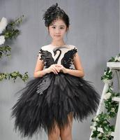 Princess Girls Dress Girls Party Dress Black White Pink Swan Wedding Clothing Ball Gown Kids Christmas Dress for 4 12