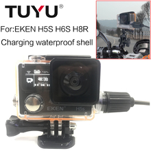 TUYU Diving Waterproof Case Charger Shell With USB Cable for  EKEN H5s H6s  H8R Accessories Motorcycle charging waterproof shell