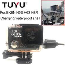 מקרה עמיד למים לצלילה TUYU פגז מטען עם כבל USB עבור EKEN H5s H6s H8R אביזרי אופנוע לחייב מעטפת עמיד למים
