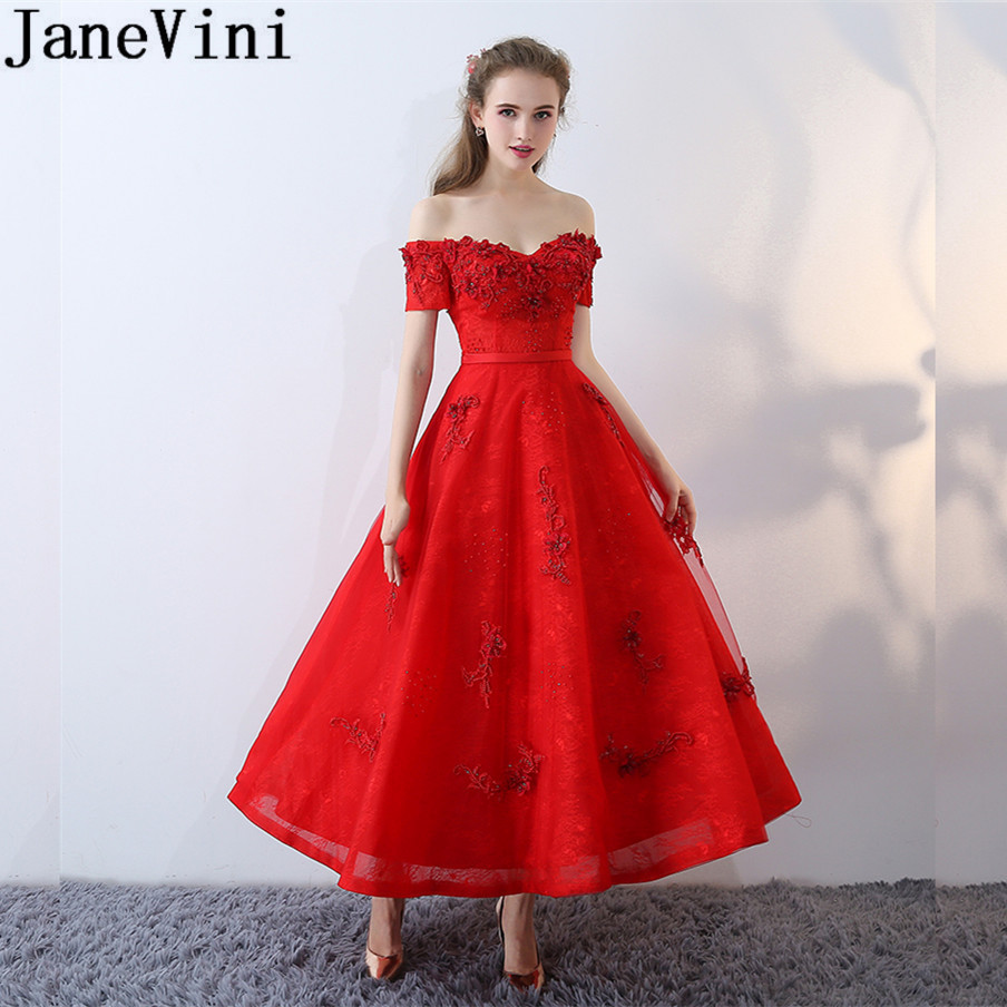 JaneVini Ankle-Length Red Long Party   Dress   Women Wedding Dubai Robe Off Shoulder Lace Prom Formal   Bridesmaid     Dresses   Beadings