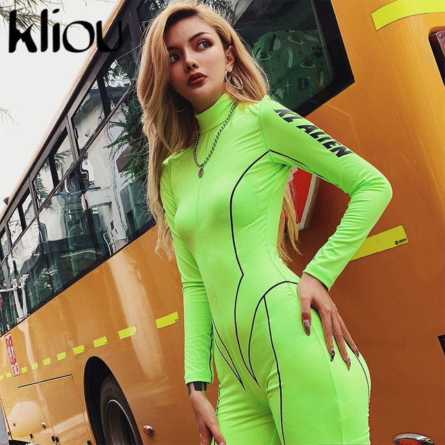 Kliou 2019 new women turtleneck full sleeve fitness playsuit white striped patchwork letter print push up skinny casual bodysuit 86
