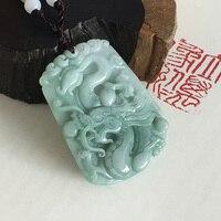 New 100% Natural Jadeite Jades Pendant 3D Handmade Carved Dragon Wek jin Pendants Women Men's Amulet Jades Jewelry With Rope