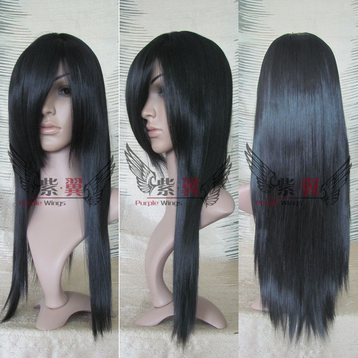 Isayama Yomi 60cm Black long straight full lace front cosplay party wig.cos hair.