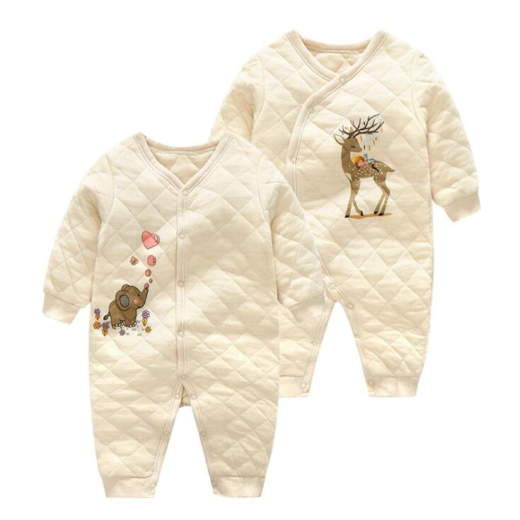 2018 brand Organic cotton baby rompers 100% safe for newborn baby jumpsuit 0-24M 2 colour infant costumes for spring baby rompers o neck 100