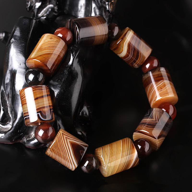 Natural Old Tibetan Agate Bucket Bead Bracelet Drop Shipping Amulet Jade Stone Bracelet For Women Men Jade Jewelry Gift