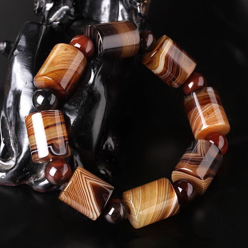 Natural Old Tibetan Agate Bucket Bead Bracelet Drop Shipping Amulet Jade Stone Bracelet For Women Men Jade Jewelry Gift