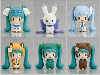 Hatsune Miku cute Snow miku and Her Friends  PVC Action Figure Collectible Model Toy 4cm KT040