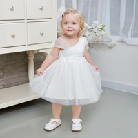 2018 baby girl white dress irregular collar applique summer sexy knee length baby girl dress tulle first birthday dress