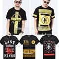 2016 marca de moda últimos reis camisa dos homens t, lk hip hop homem de manga curta de alta qualidade clothing tshirt camisa masculina presa