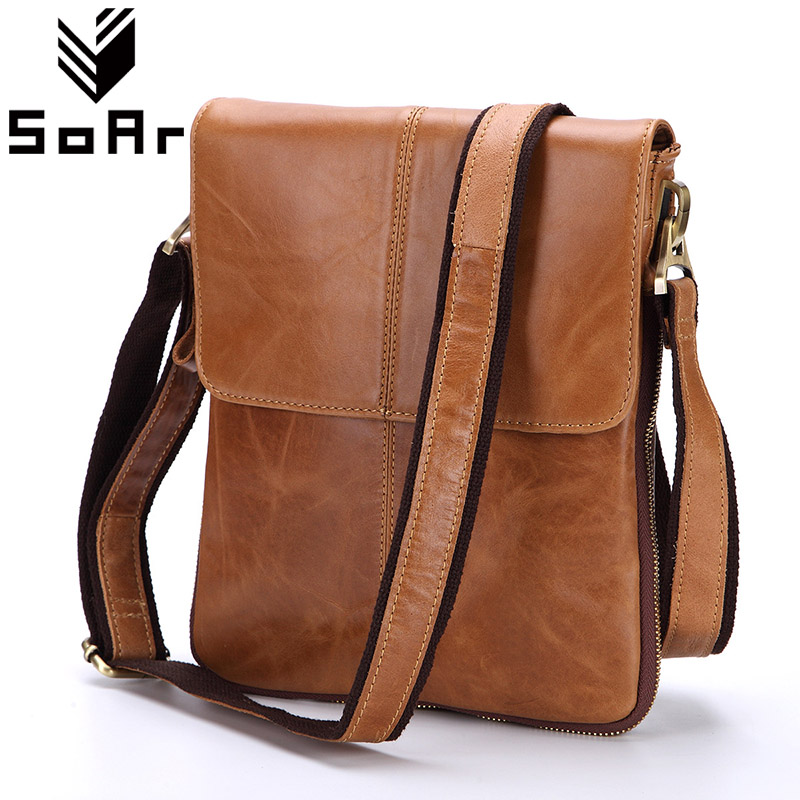 SoAr 100% Genuine Leather Men Bag Frosted Shoulder Bags First Layer Cow Leather Messenger Bags Business Hot Sale New Fashion 4