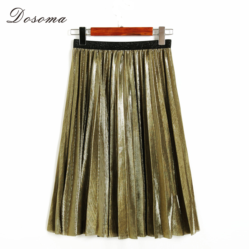 Dosoma Women Metal Pleated Skirts Tutu Ball Gown Skirt A-line Spring Summer Midi Elegant Long Skirt Saia Loose Green Faldas
