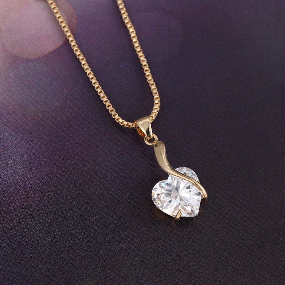 new hot Fashion crystal gold jewelry cute Chain Small Heart pendant ...