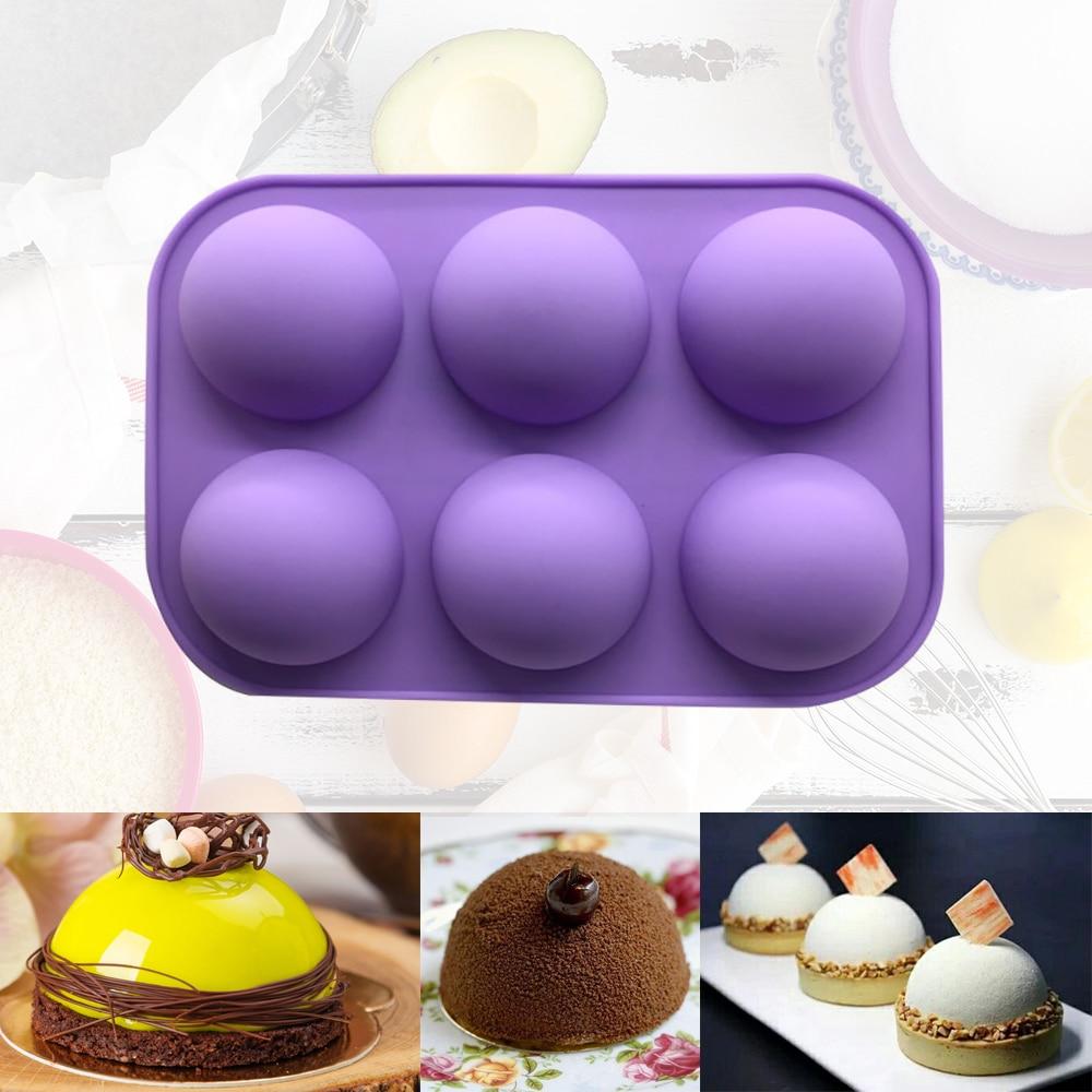 Полусферы силиконовые формы для мыла формы для выпечки инструменты для украшения торта Пудинг; Желе; Шоколад штамповый мяч Форма печенья ин...