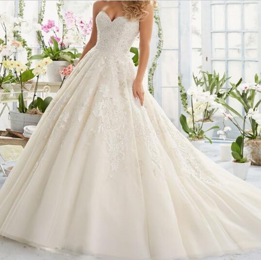 vestido de noiva sereia Sweetheat Lace Wedding Dress with Beading Chapel Train Bridal Gowns Vestido noiva