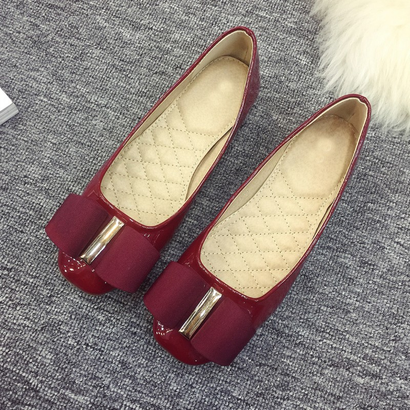 Red Spring Autumn Women's Increase Ballet Flats Shoes Patent Leather Square Toe Bowtie Ladies Loafers Single Shoes Plus Size brilliant genuine sheepskin leather flat heel single shoes 2016 spring summer square toe rhinestones black rose red ballet flats