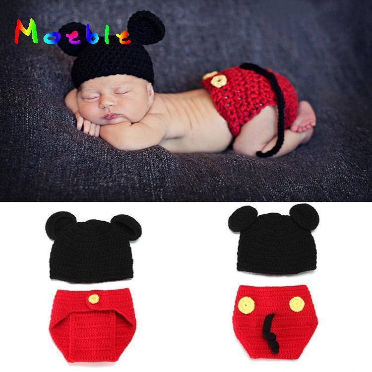 Mickey Design Infant Baby Crochet Hat&Diaper Set Newborn Knitted Costume Baby Boy Crochet Photography Props  1set MZS-14015 mattress