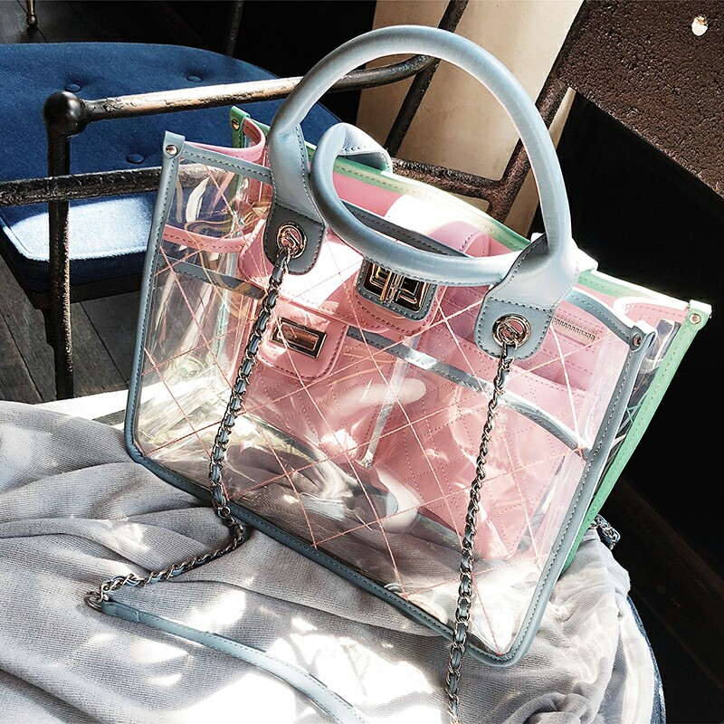 2018 fashion new ladies transparent shoulder bag jelly bag summer ladies beach bag chain Messenger bag benviched 2018 summer new feather bag pu simple fashion chain shoulder messenger bag mini bag r24