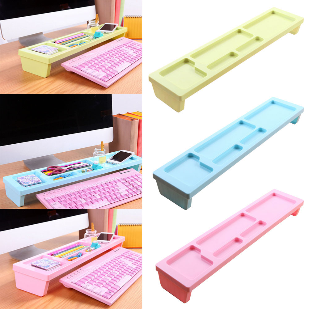 Candy Color Home Office Desk Organizer Desktop Supplies Organizer Over Keyboard Storage Organizer Pen Holder Office Tray 3 Color