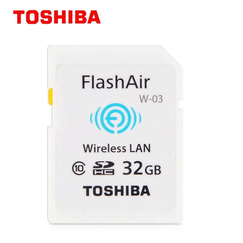 100% D'origine Toshiba Flash Air Carte Mémoire 32 GB wifi SD carte Classe 10 Sans Fil Carte Mémoire SDHC 32 GB Pour Appareil Photo W-03