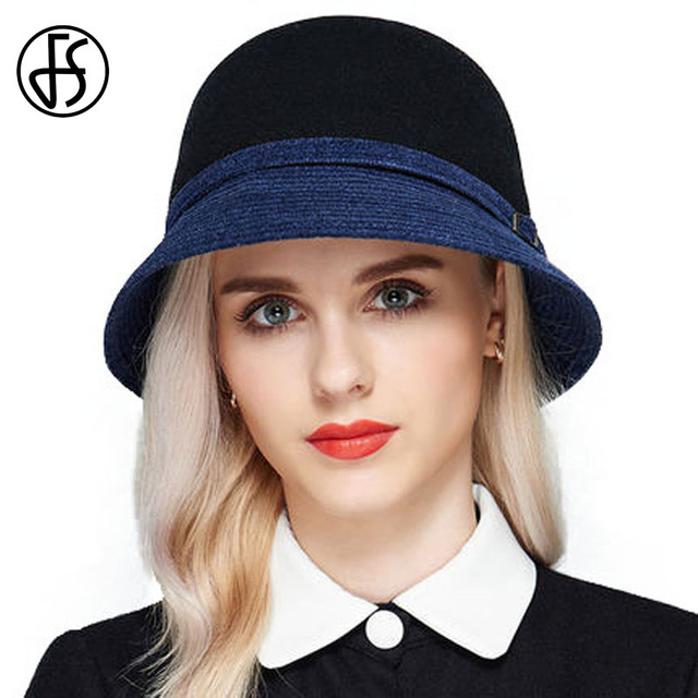 0411b1f870a FS 100% Winter Wool Fedora Hats Female Beige Wine Red Dark Blue Floppy Hat  For Women Felt Bowler Cloche Sun Beach With Belt Cap