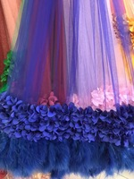 20 yards royal blue 3D flowers bridal lace fabric for haute couture dress with 3D flowers and feathers