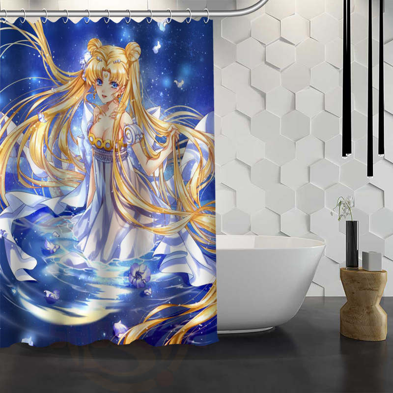 Custom Sailor Moon Shower Curtain Waterproof Fabric Bath Curtain for Bathroom WJY1.17