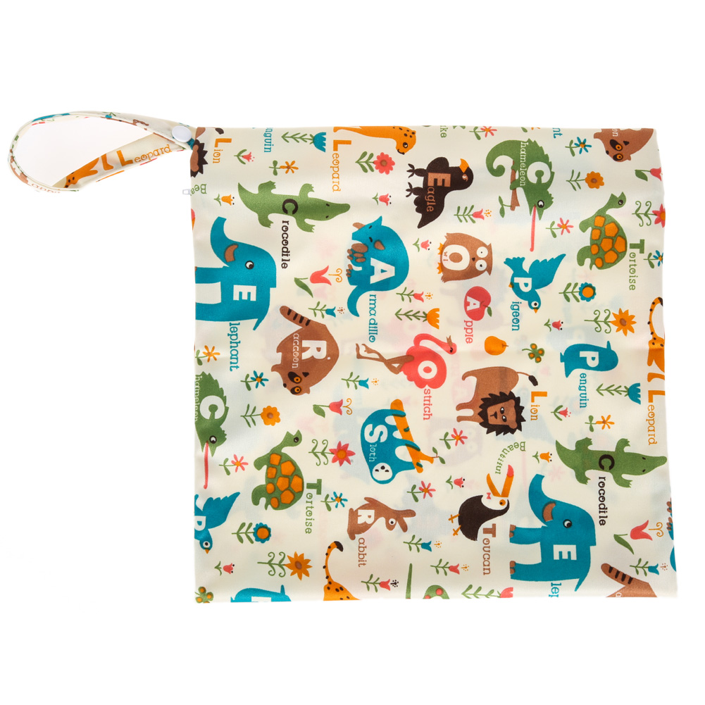 Colorful Printed Diaper Bag Reusable Washable Wet Dry Cloth Zipper Waterproof Baby Nappy Diaper Bag