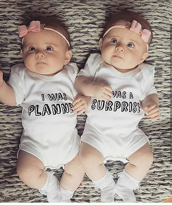 Cute Newborn Twins Baby Boys Girls Family Set Funny Letter Print