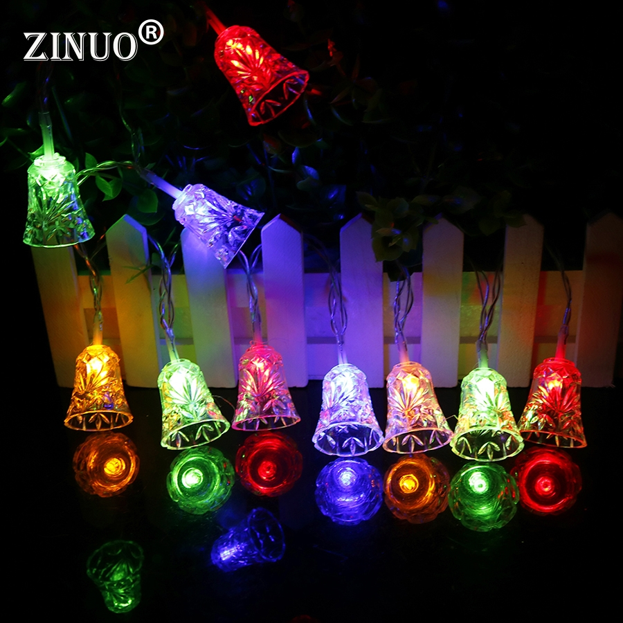 ZINUO Christmas Lights Outdoor 4M 20LEDs Jingle Bells Fairy String Light AC220V Bells Christmas Tree Decoration New Year Lights
