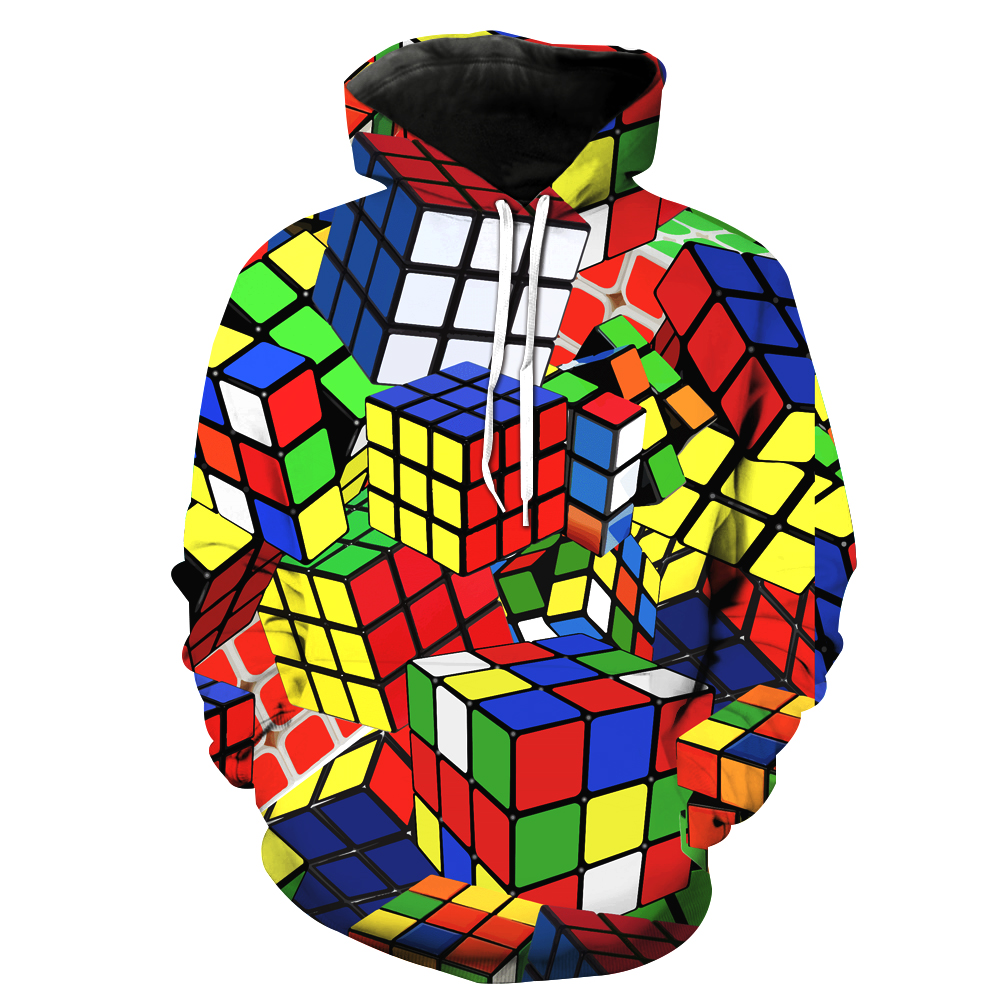 Geek Rubiks Cube Maze 3d Print Men Hoodie Gift Casual Cotton Coat Sweatshirt Boyfriends Cool Geometric Tops Streetwear Men's Clothing