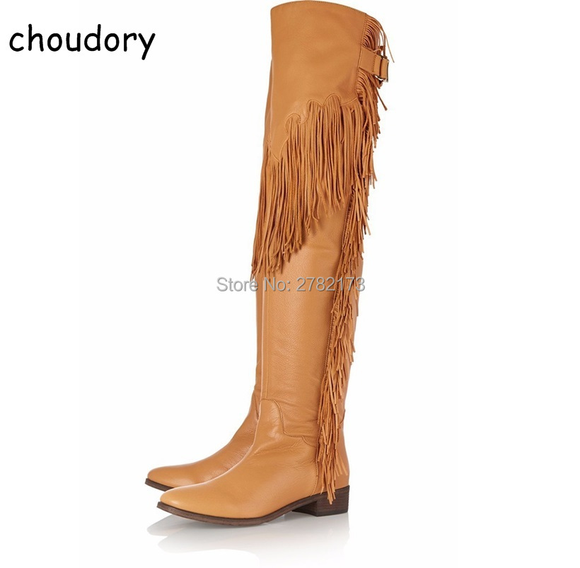 Brown Black Leather Women Thigh High Woman Flats Boots Shoes Fringed Lady Long Motorcycle Boots Tassel Decoration Woman Shoes ppnu woman winter nubuck genuine leather over the knee snow boots women fashion womens suede thigh high boots ladies shoes flats