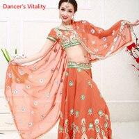 Для женщин танец живота Костюмы для взрослых женщин Индии танец сценическое костюм национальный костюм топ + юбка + фата + трусы 4 шт. комплек
