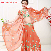 Women Belly Dance Clothing Adult Female India Dance Stage Performance Suit National Costume Top+Skirt+Veil+Underpants 4pcs Set