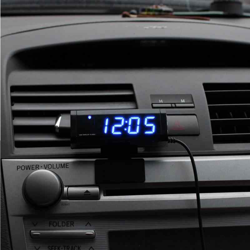 VODOOL 12V Universal Car Clock Thermometer Auto Interior Time Temperature Monitor LED Digital Display Blue Backlight Car Styling