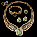 Moda 2 Color Grande Neckalce Pendiente del Anillo de Ajuste Pulsera Dubai Sistemas de La Joyería de Plata Chapado En Oro Perlas Africanas Boda Nigeriano 4 UNIDS