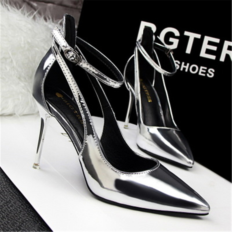 2016 fashion high-heeled shoes thin heels sexy ol women's shoes shallow mouth pointed toe single shoes cutout belt 8cm 2015 spring and autumn single shoes cutout hasp pointed toe high heels ol thin female fashion sandals