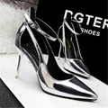 2016 fashion high-heeled shoes thin heels sexy ol women's shoes shallow mouth pointed toe single shoes cutout belt