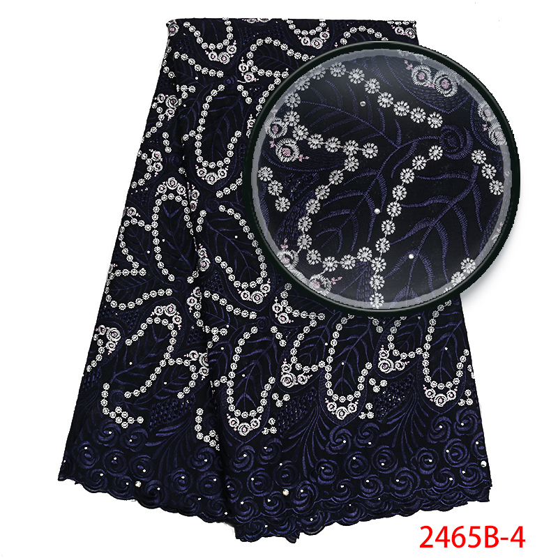 Best Selling 2019 Swiss Voile Laces,African Lace Fabric High Quality,Nigerian French Embroidery Lace Fabric With Stone KS2465B-4