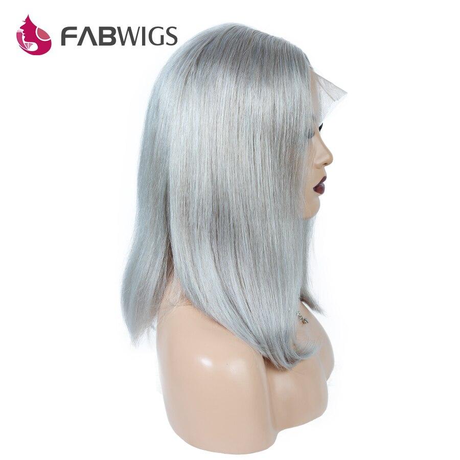 Fabwigs 250% Densité Court de Cheveux Humains BoB Perruques Pur Gris 13x4 Dentelle Avant de Cheveux Humains Perruques avec Bébé cheveux Européenne Remy Cheveux
