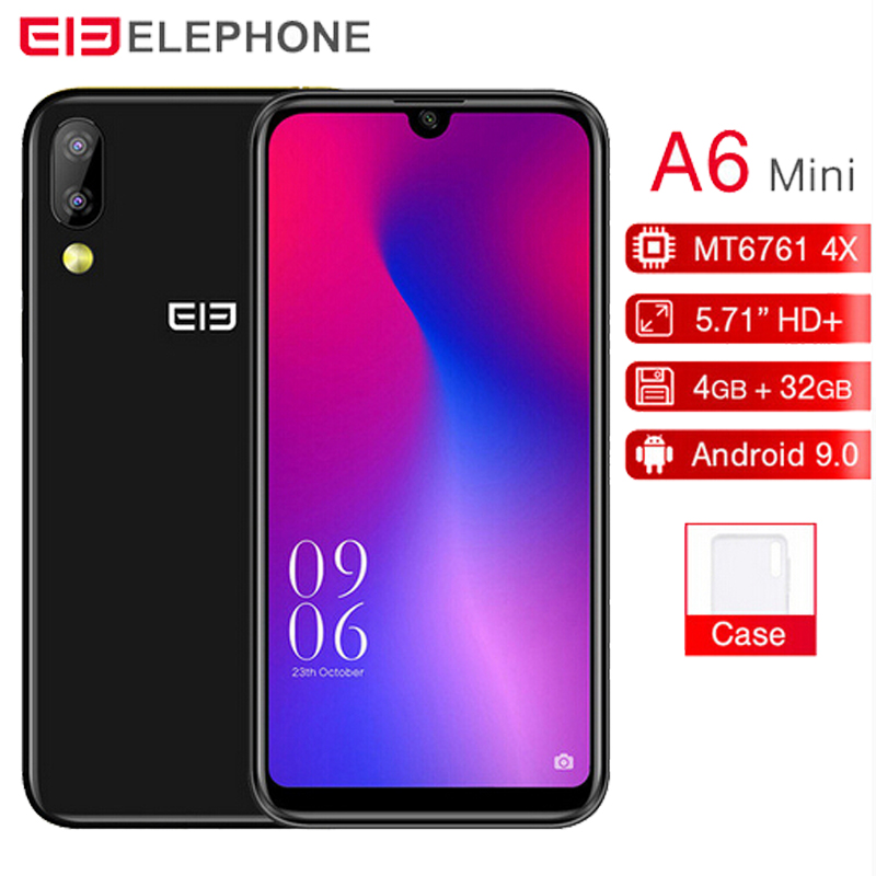 "Elephone A6 Mini MT6761 Quad Core 5.7""FHD Android 9.0 Smartphone 4GB RAM 32GB/64GB ROM 16MP Face ID 4G LTE Mobile Phone"