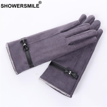 SHOWERSMILE Gray Women Gloves With Bows Ladies Glove For Driving Suede Warm Winter Elegant Velvet Female Touch Screen Gloves nubuck glove with touch tips